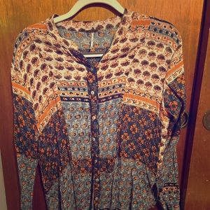 Free People Patterned Button Down Shirt
